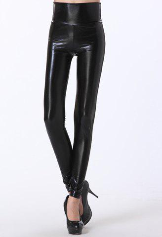 Solid Color High Waist Simple Design Slimming Women's PU Leather Leggings - BLACK ONE SIZE