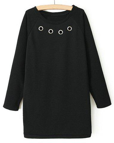 Simple Round Collar Solid Color Hollow Out Long Sleeves Women's Dress - BLACK S