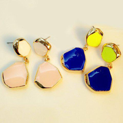 Pair of Fashion Colored Glazed Irregular Shape Earrings For Women - COLOR ASSORTED
