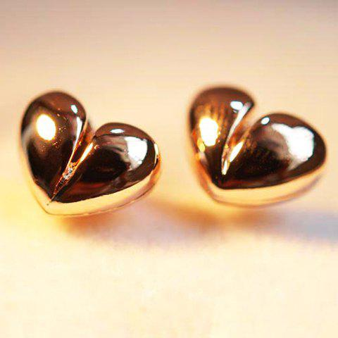 Pair of Cute Solid Heart Earrings For Women - AS THE PICTURE