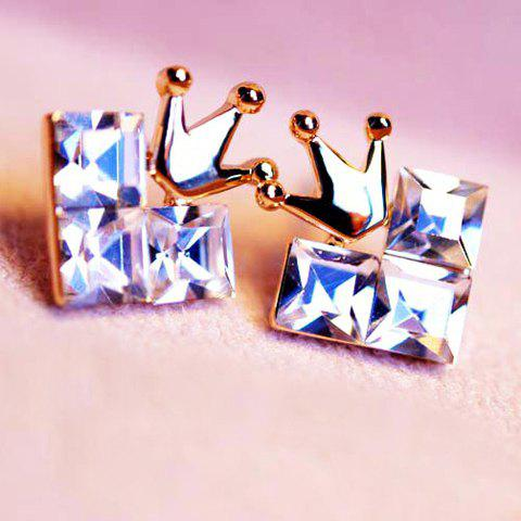 Pair of Cute Crown Embellished Faux Crystal Earrings For Women