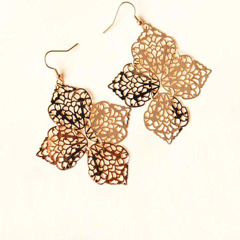 Pair of Trendy Big Hollow Clover Earrings For Women - AS THE PICTURE