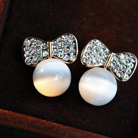Pair of Brilliant Diamante Bowknot Embellished Faux Opal Pendant Earrings For Women