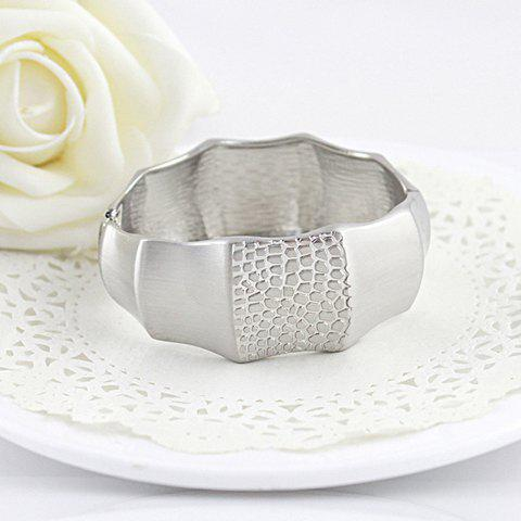 Bamboo Joint Shape Design Alloy Wide Bracelet - SILVER