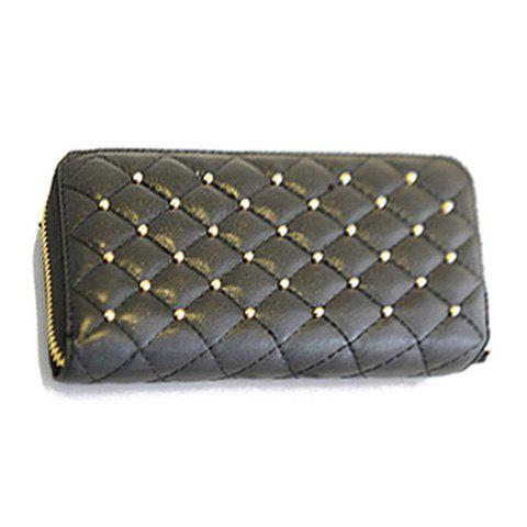 Fashion Black Checked and Rivets Design Clutch Wallet For Women - BLACK