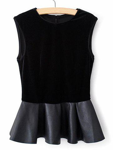 Trendy Round Collar Back Single-Breasted Leather Splicing Pelpum Top Sleeveless Women's Blouse - BLACK M