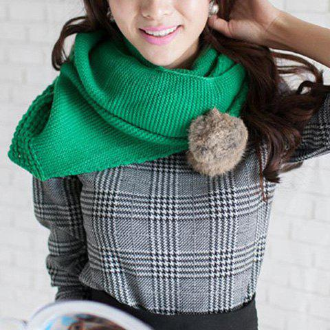 Sweet Fuzzy Balls Design Woolen Yarn Irregular Scarf - GREEN