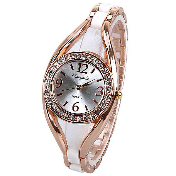 Quartz Watch Analog Indicate Diamonds Round Dial with Steel Watchband for Women popular women watch analog with diamonds style round dial steel watch band