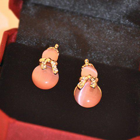 Pair of Exquisite Diamante Faux Opal Calabash Earrings For Women - PINK