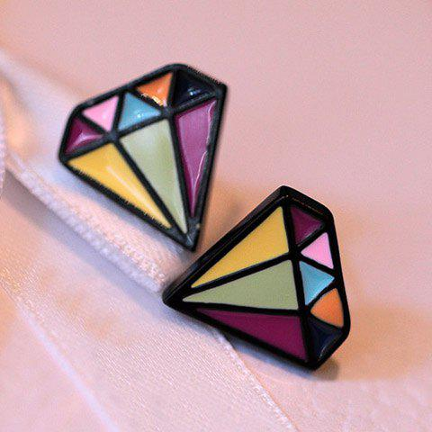 Pair of Glazed Diamond Shape Earrings - AS THE PICTURE