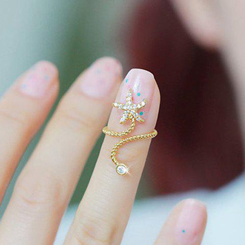 Chic Diamante Starfish Embellished Spiral Alloy Ring For Women