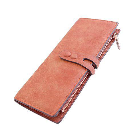 Korean Style Solid Color and PU Leather Design Women's Clutch Wallet