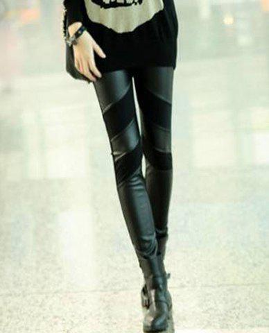 Simple Design Solid Color Straight Leg PU Leather Splicing Slimming Women's Leggings - BLACK ONE SIZE