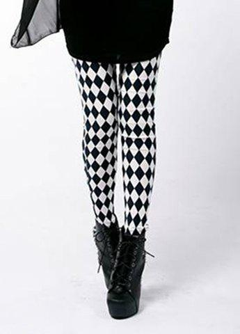 Color Block Modern Style Diamond-shaped Slimming Women's Leggings - AS THE PICTURE ONE SIZE