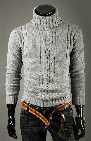 Casual Style Turtleneck Solid Color Jacquard Design Long Sleeves Men's Cotton Sweater - LIGHT GRAY XL