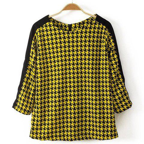Charming Round Collar Houndstooth Pattern Color Splicing 3/4 Sleeve Women's Blouse - AS THE PICTURE L