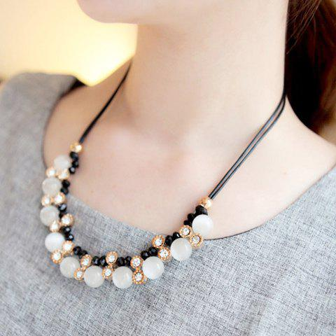 Fashion Faux Opal Pendant Beaded Faux Leather Necklace For Women -  AS THE PICTURE