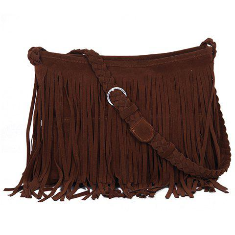 Fashion Fringe and Weaving Design Crossbody Bag For Women - CAMEL