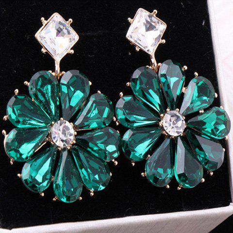 Pair of Chic Transparent Colored Flower Earrings For Women - COLOR ASSORTED