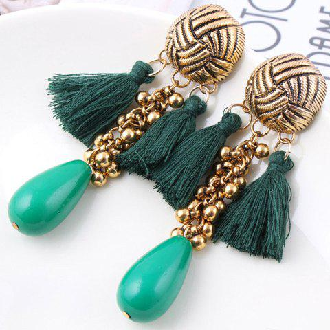 Pair of Chic Colored Beaded Tassel Pendant Earrings For Women - COLOR ASSORTED