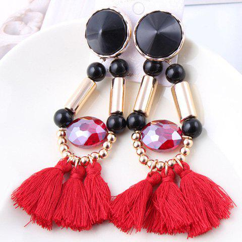 Pair of Vintage Colored Tassel Pendant Beaded Earrings For Women - COLOR ASSORTED