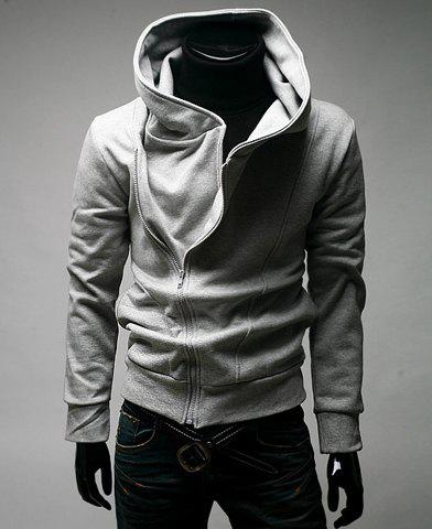 Simple Type Hooded Side Zipper Solid Color Men's Long Sleeve ...
