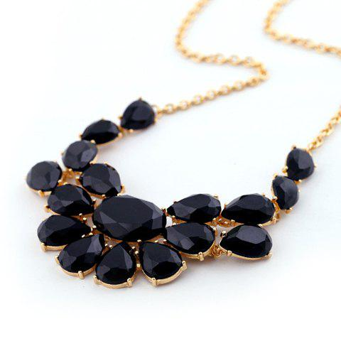 Versatile Candy Color Faux Gemstone Pendant Alloy Necklace For Women - BLACK