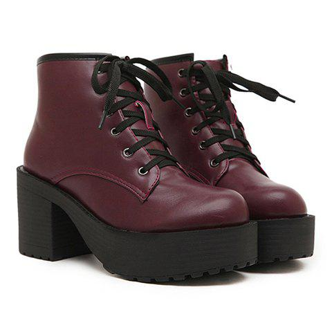 Korean Style Burgundy and Lace-Up Design Women's Short Boots - WINE RED 39