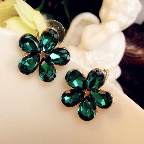 Pair of Sweet Colored Faux Crystal Flower Earrings For Women - COLOR ASSORTED