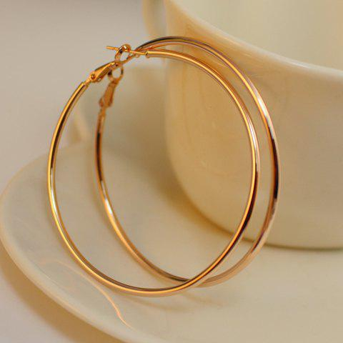 Pair of Alloy Polished Hoop Earrings - AS THE PICTURE
