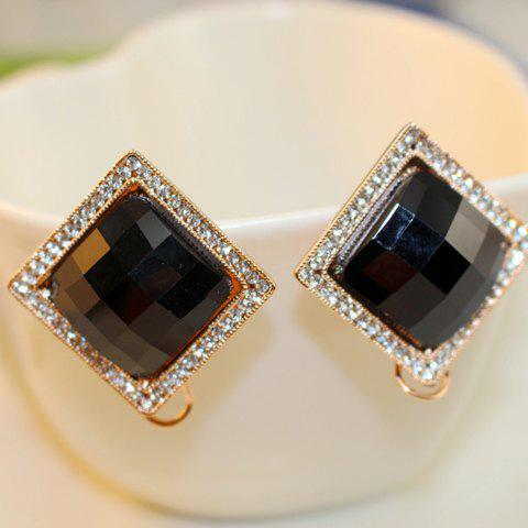 Pair of Brilliant Diamante Square Earrings For Women - AS THE PICTURE