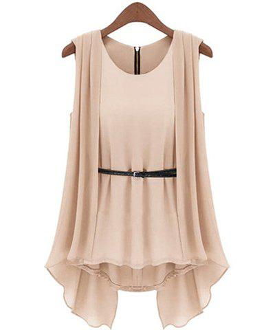 Scoop Collar Solid Color Belted Irregular Design Sleeveless Women's Chiffon Blouse - APRICOT S