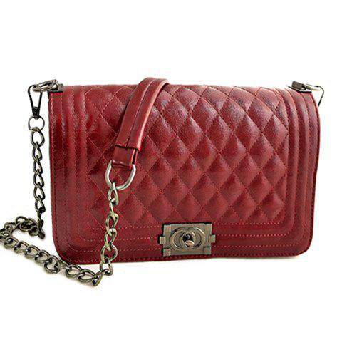 Stylish Checked and Chains Design Women's Shoulder Bag - WINE RED