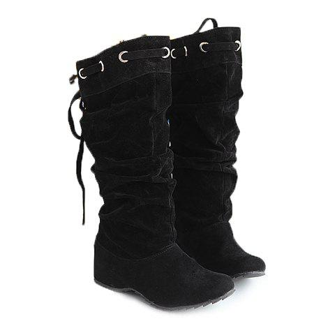 Korean Style Lace-Up and Suede Design Mid-Calf Boots For Women - BLACK 38