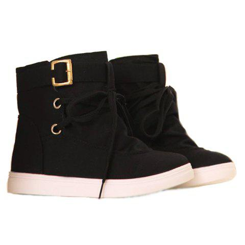 Fashion Buckle and Lace-Up Design Boots For Women - BLACK 39