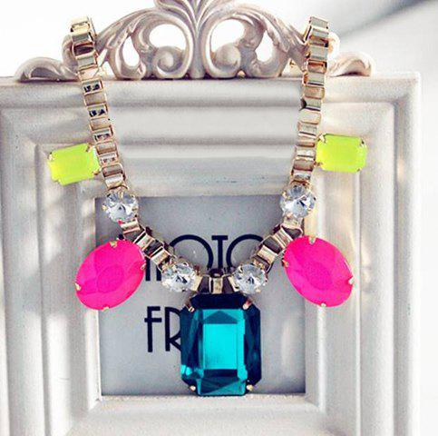 Stylish Cute Colorful Rhinestone Square Pendant Necklace For Women - AS THE PICTURE