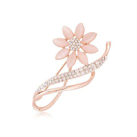 Fashionable Diamante Faux Opal Flower Brooch For Women - GOLD