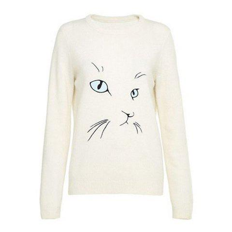 Trendy Round Collar Cat Eye Embroidery Long Sleeves Women's Sweater
