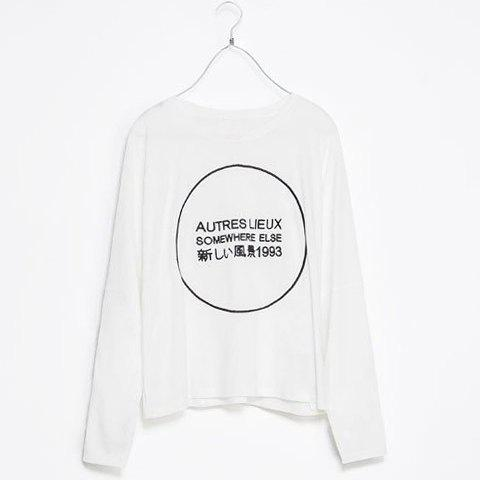 Scoop Collar Letter Circle Long Sleeves Loose-Fitting T-shirt For Women