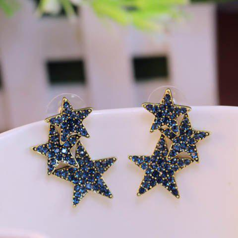 Pair of Star Shape Stud EarringsJewelry<br><br><br>Color: COLOR ASSORTED