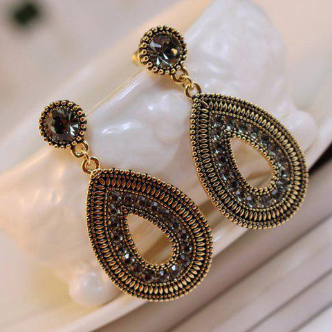 Pair of Diamante Waterdrop Shape Drop Earrings - GOLD