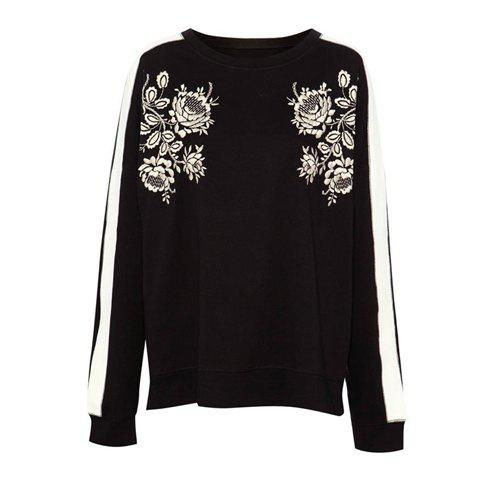 Scoop Collar Flower Pattern Color Splicing Long Sleeves Blended Women's Sweatshirt - AS THE PICTURE L