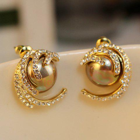 Pair of Diamante Faux Pearl Stud Earrings - GOLD