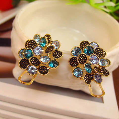 Pair of Multicolor Rhinestone Design Alloy Stud Earrings - GOLD