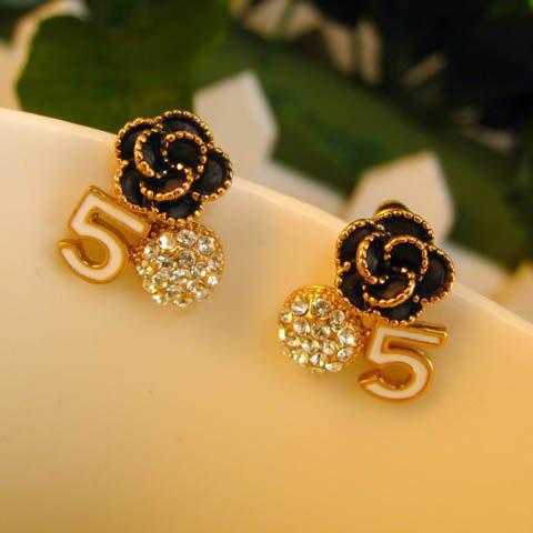 Pair of Hot Sale Rhinestoned Flower and Digit Five Shape Stud Earrings For Women