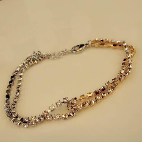 Adjustable Rhinestoned Multilayered Bracelet - COLOR ASSORTED