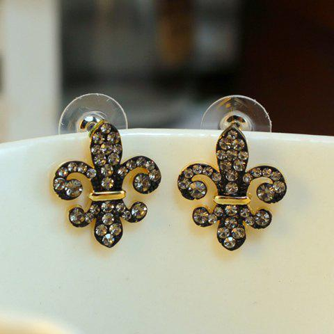 Pair of Chic Fully-jewelled Earrings For Women - GOLD
