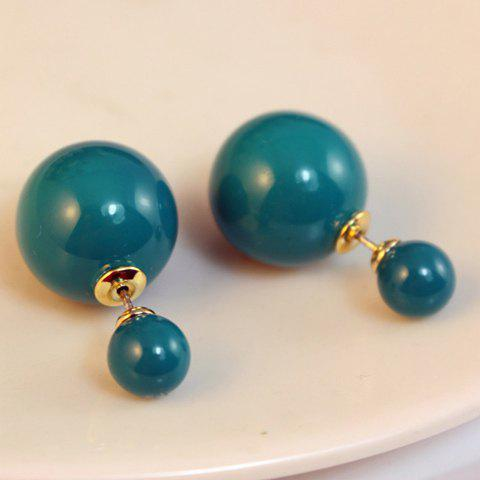 Pair of Fashion Colored Round Bead Earrings For Women - COLOR ASSORTED