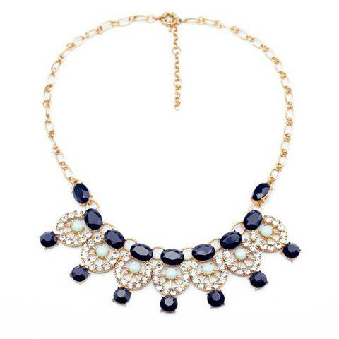 Characteristic Rhinestoned Round Pendant Alloy Necklace - SAPPHIRE BLUE