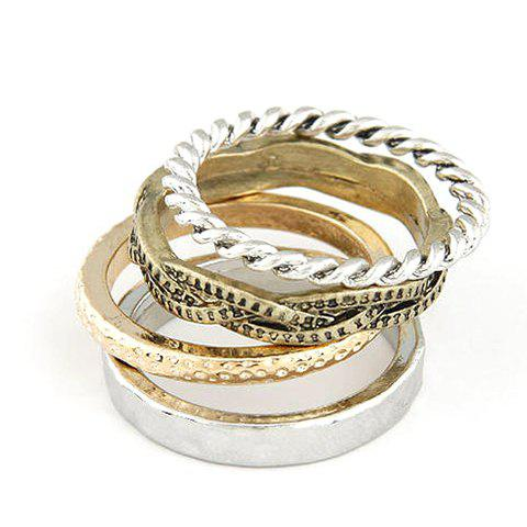 A Suit of Retro Twisted Round Rings For Women - AS THE PICTURE ONE SIZE